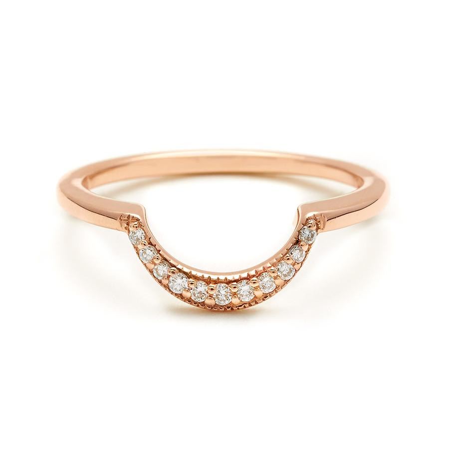Anna Sheffield Crescent Diamond Wedding Band in 14K Gold front view