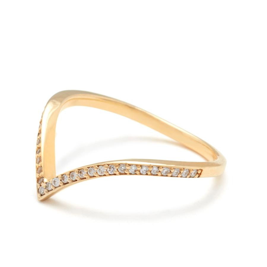 Anna Sheffield Diamond Chevron Wedding Band in 18K Gold angle view