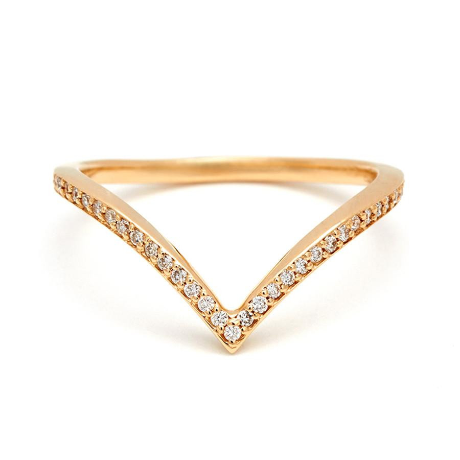 Anna Sheffield Diamond Chevron Wedding Band in 18K Gold front view
