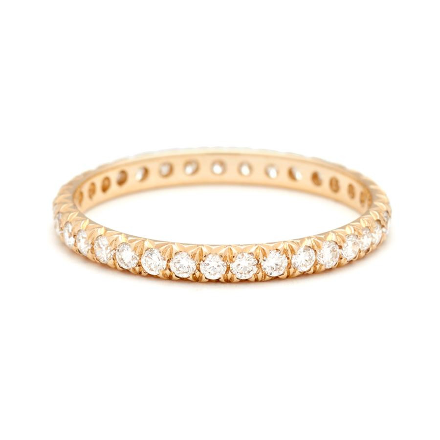 Anna Sheffield Small French Cut Pave Band in 14K Gold