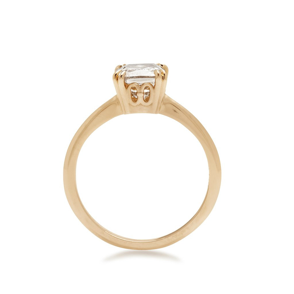 Anna Sheffield Hazeline Champagne Diamond Solitaire Ring in 14K Gold side view