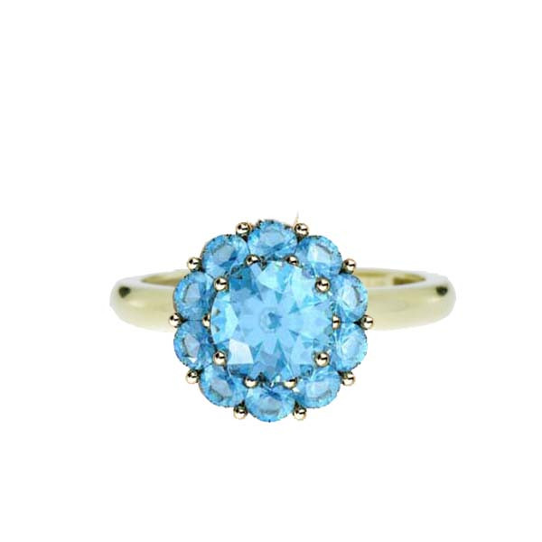 Color My Life Aqua Ring in Yellow Gold