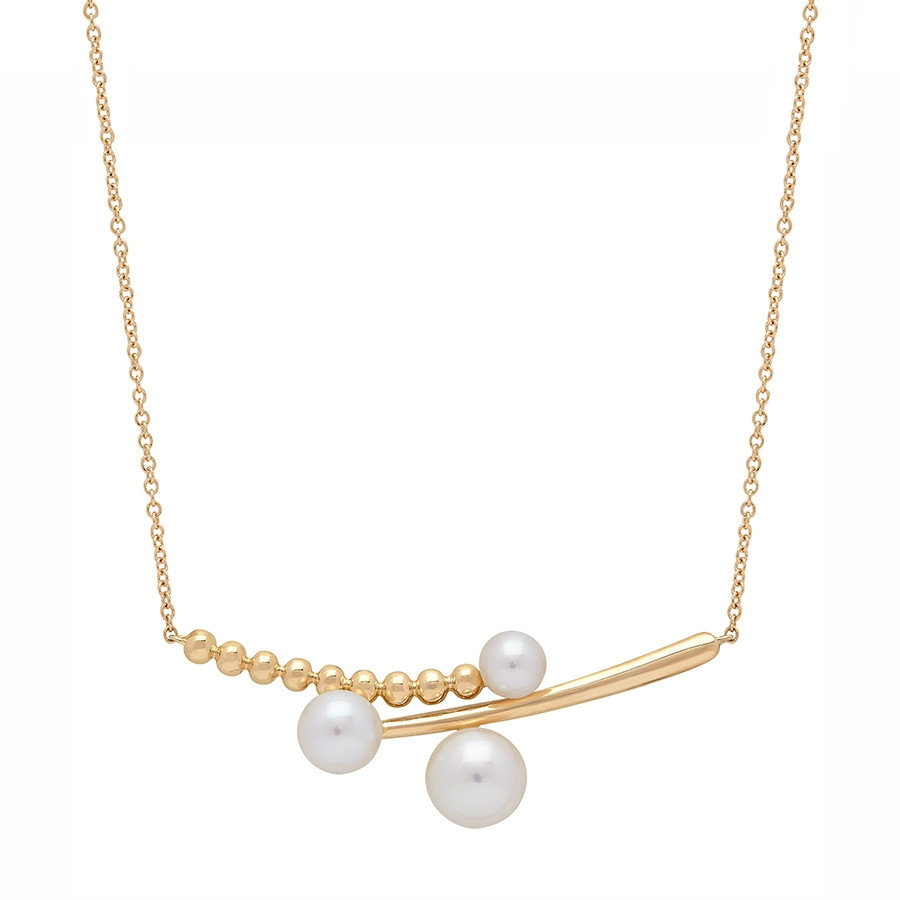 Honora Yellow Gold Icon Triple Pearl Station Bar Necklace
