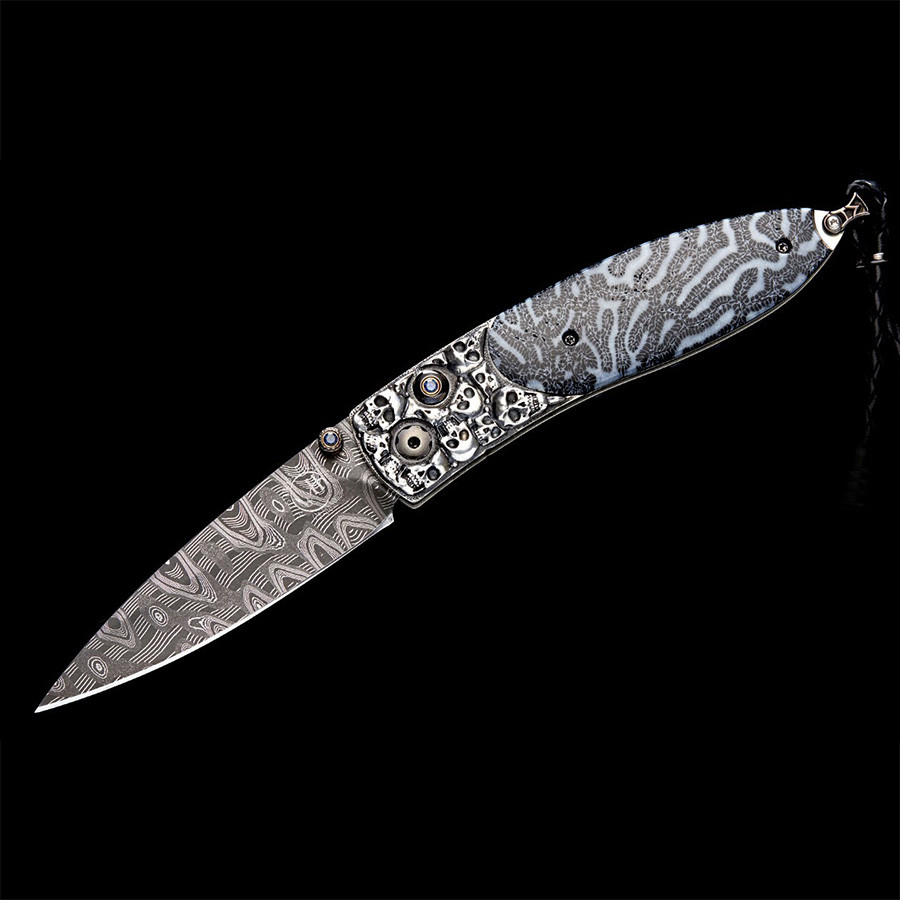 William Henry Monarch Departure Damascus Steel Pocket Knife Open View