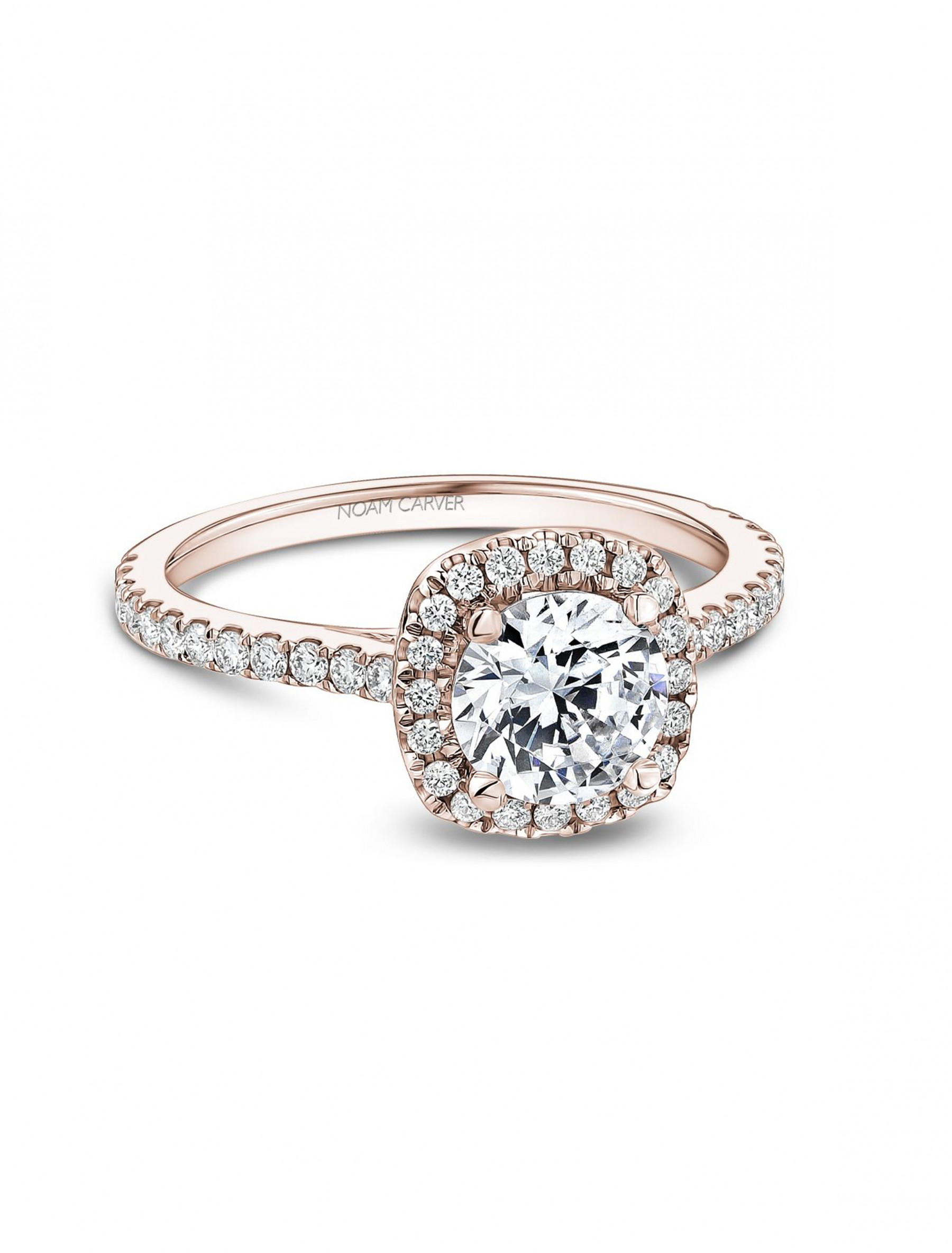 Noam Carver Round Cushion Halo Diamond Engagement Ring Setting in 18K Rose Gold main view
