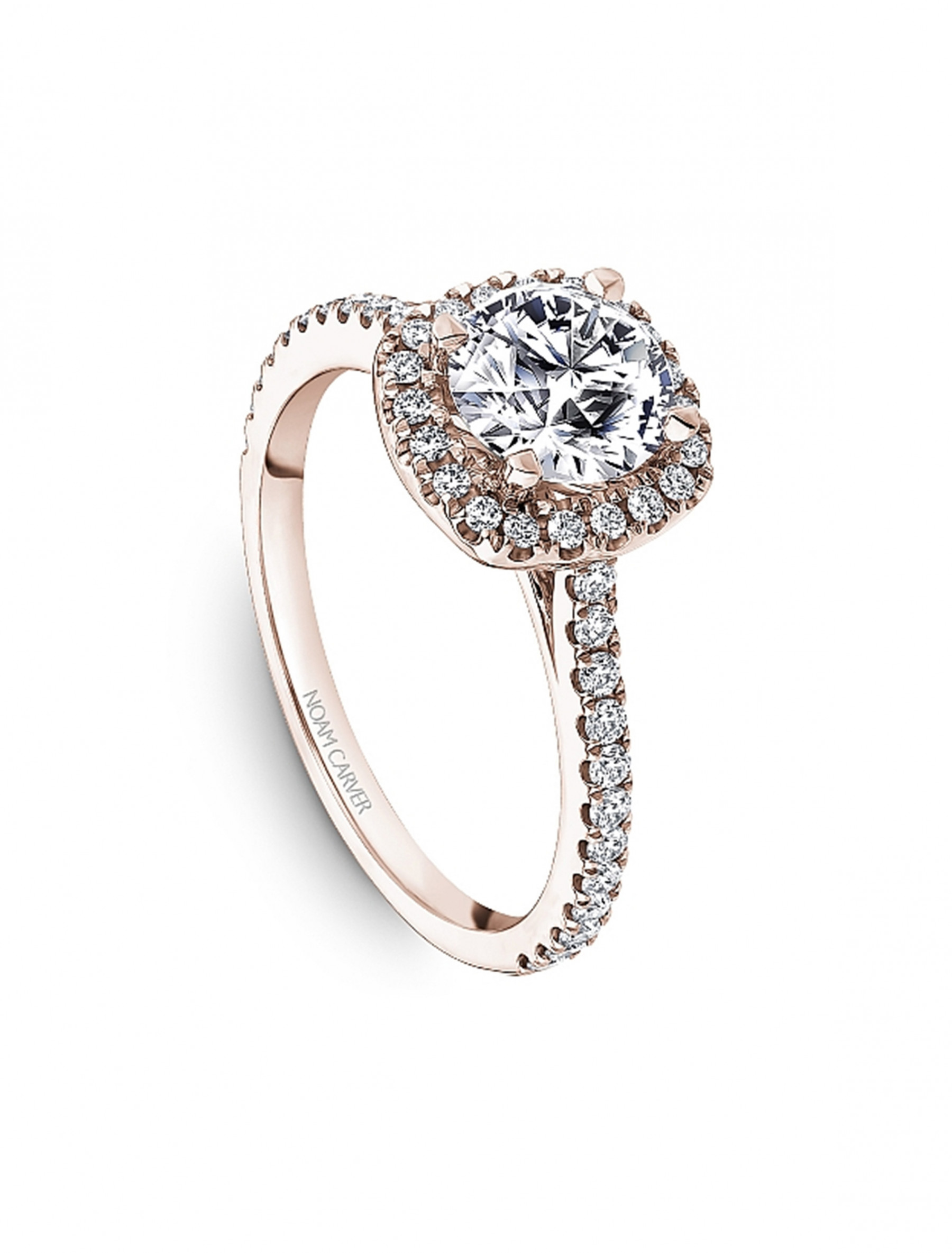 Noam Carver Round Cushion Halo Diamond Engagement Ring Setting in 18K Rose Gold angle view