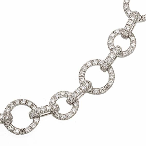 Aaron Basha Small Round Links Diamond 2.12tw with Seven Circles Charm Bracelet