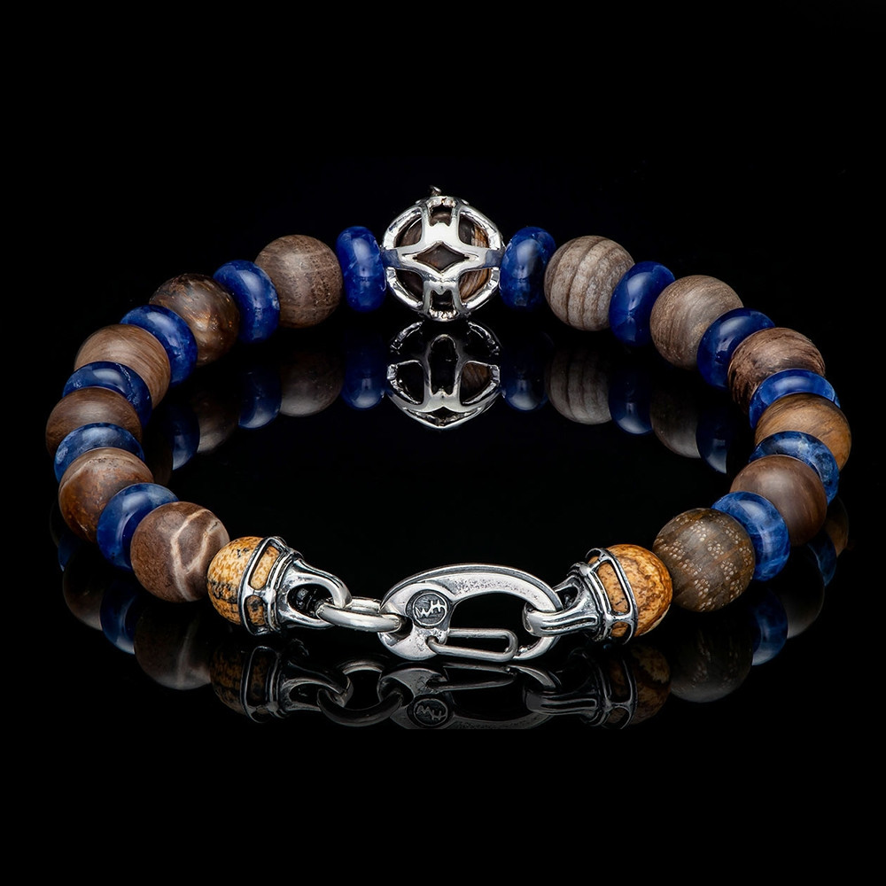 William Henry Adventure Embrace Petrified Wood & Blue Sodalite Beaded Bracelet Back View