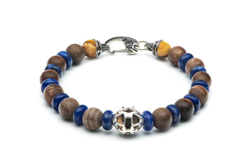 William Henry Adventure Embrace Petrified Wood & Blue Sodalite Beaded Bracelet