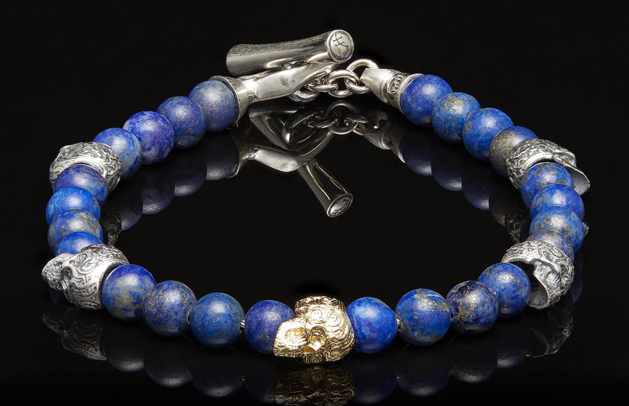 William Henry Silver and Gold Skull Bead Sync Bracelet angle image