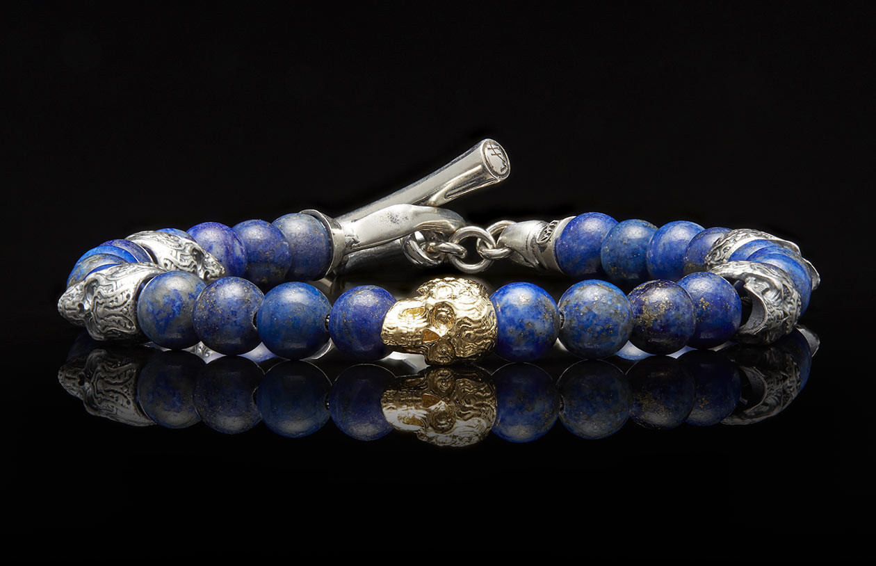 William Henry Silver and Gold Skull Bead Sync Bracelet  front image