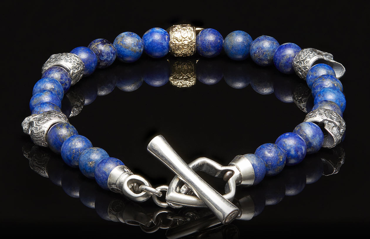 William Henry Silver and Gold Skull Bead Sync Bracelet  back image