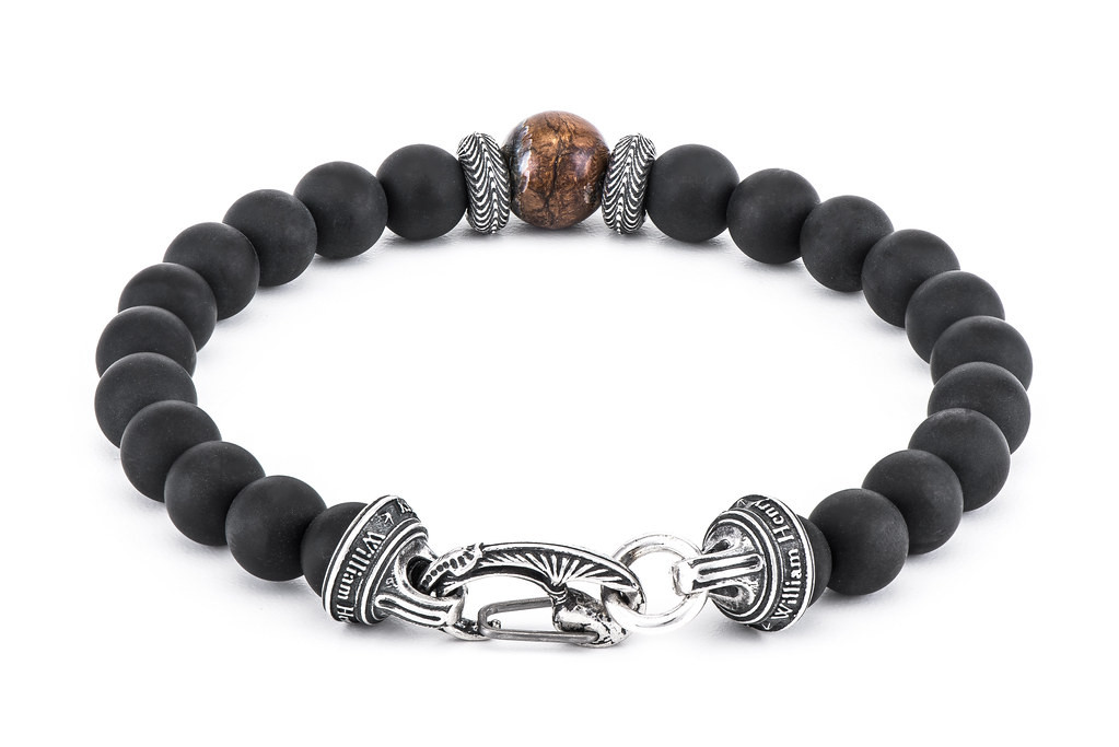 William Henry Frosted Black Onyx Bead Bracelet