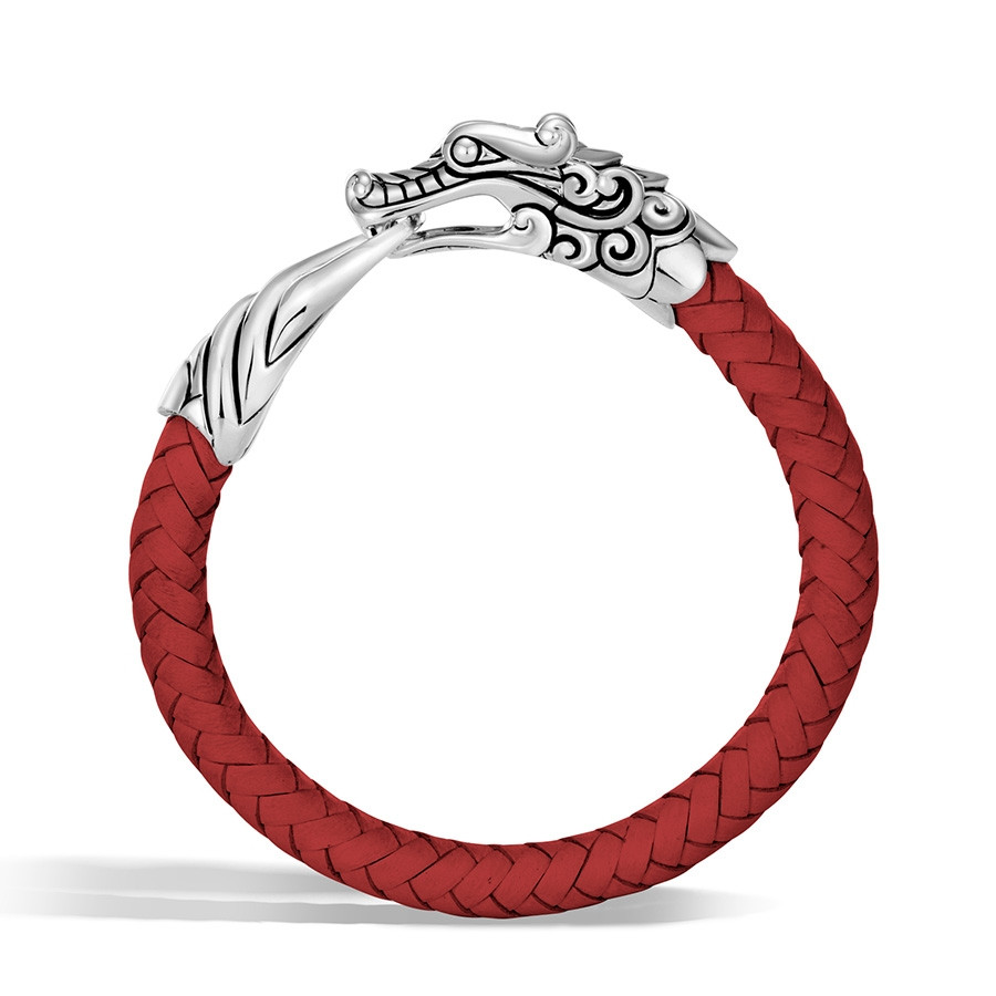 John Hardy Naga Legends Silver Dragon Red Woven Leather Bracelet Side View