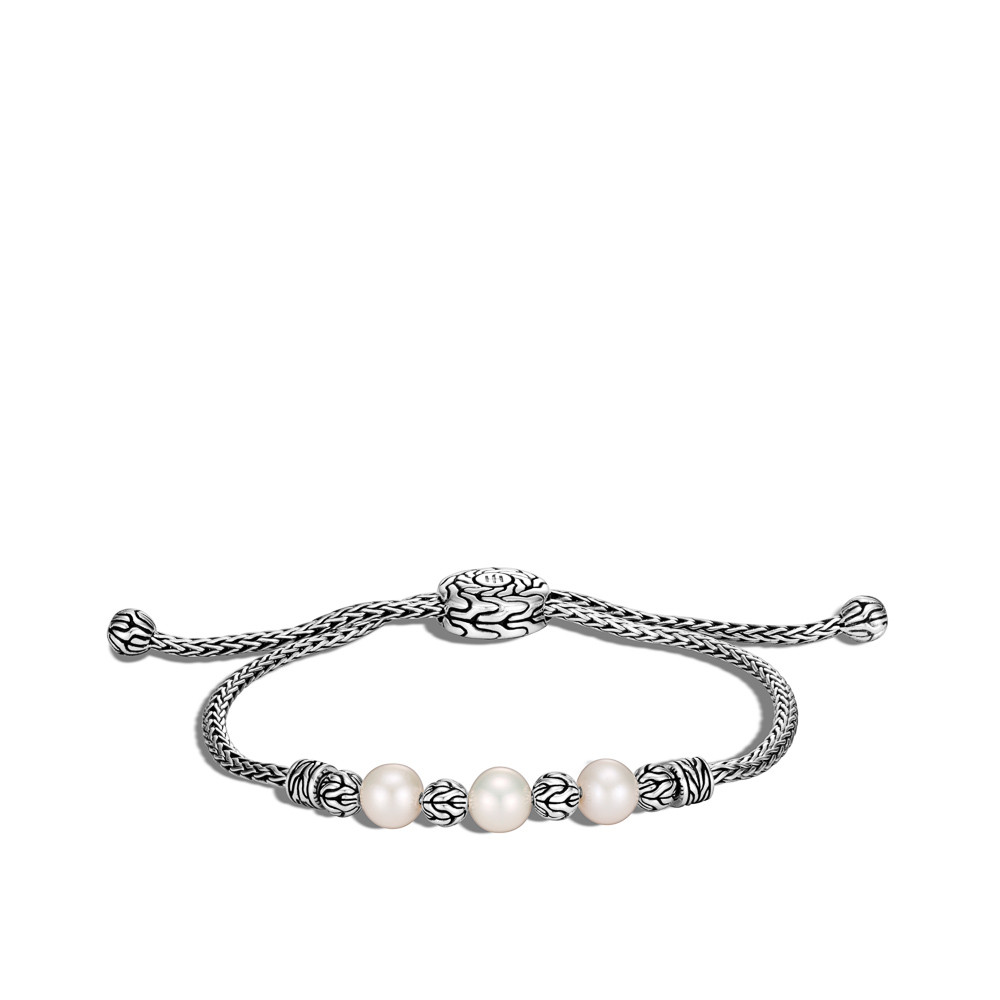 John Hardy Classic Chain Pearl Adjustable Station Bracelet in Sterling Silver