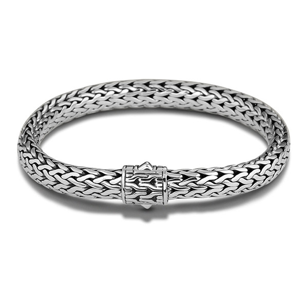 """John Hardy Classic Chain 7.45mm Silver Bracelet with Chain Clasp 7.5"""""""