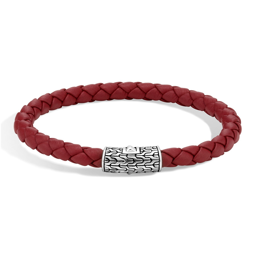 John Hardy Classic Chain Sterling Silver & Red Woven Leather Bracelet