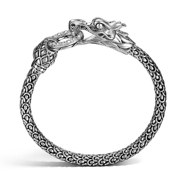 John Hardy Silver & Diamond Dragon Naga Bracelet Profile View