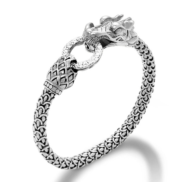 John Hardy Silver & Diamond Dragon Naga Bracelet Top View