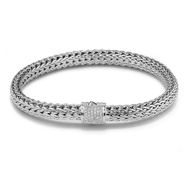 John Hardy Classic Chain 6.25mm Silver Bracelet with Pave Diamond Clasp .17ctw 6.0""