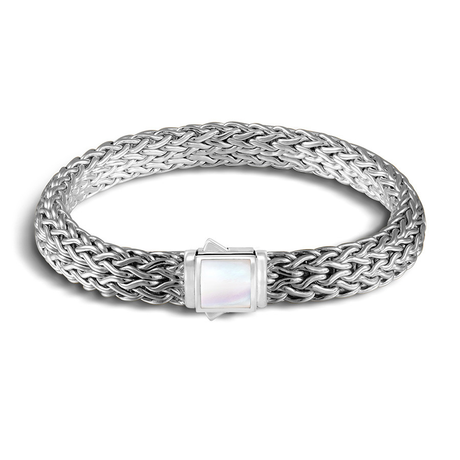 John Hardy Extra Small Classic Chain Mother of Pearl & Black Sapphire Reversible Bracelet