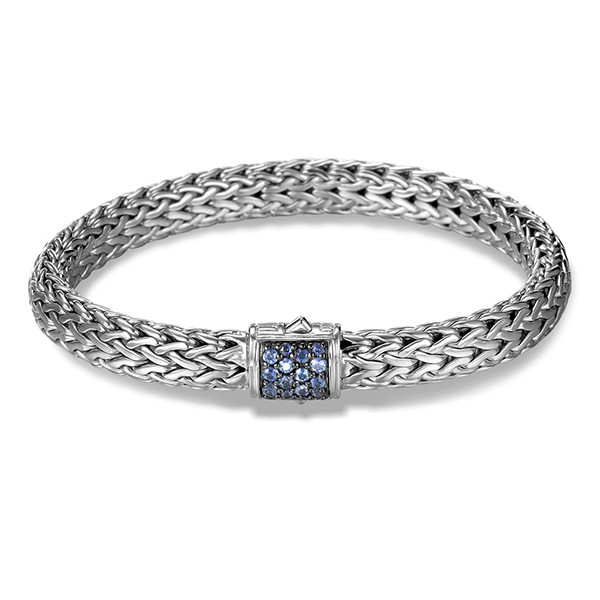 John Hardy Classic Chain Silver 7.45mm Bracelet with Blue Sapphire Clasp