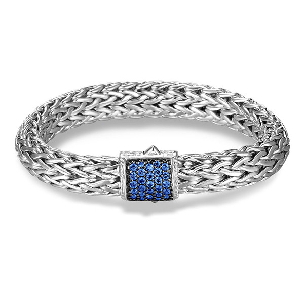 John Hardy Classic Chain 10.5mm Silver Bracelet and Blue Sapphire Clasp