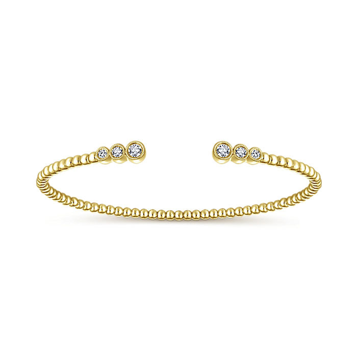 Gabriel & Co. Yellow Gold 6 Diamond Bangle Bujukan Bracelet Angle 1