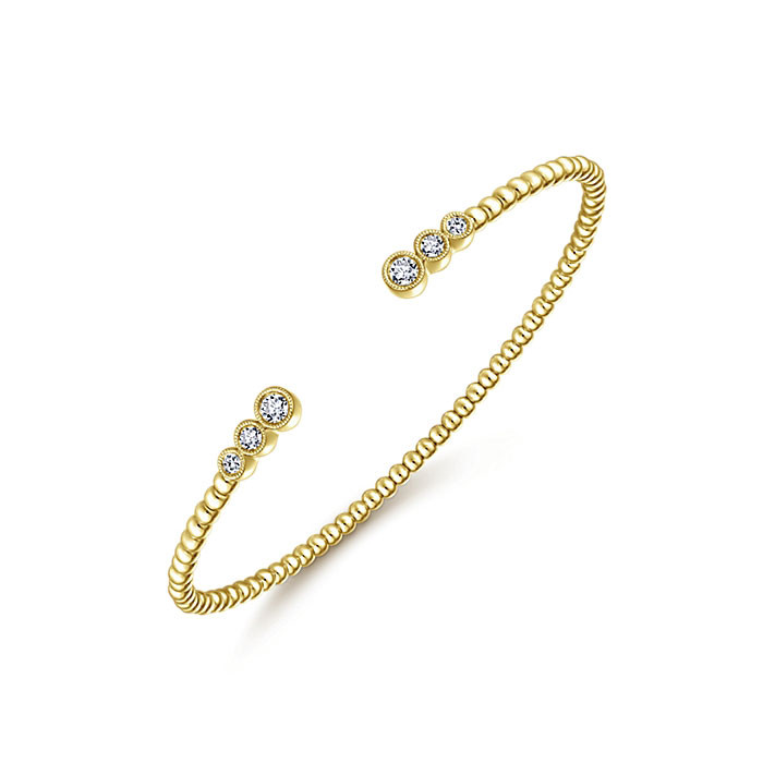 Gabriel & Co. Yellow Gold 6 Diamond Bangle Bujukan Bracelet Angle 2