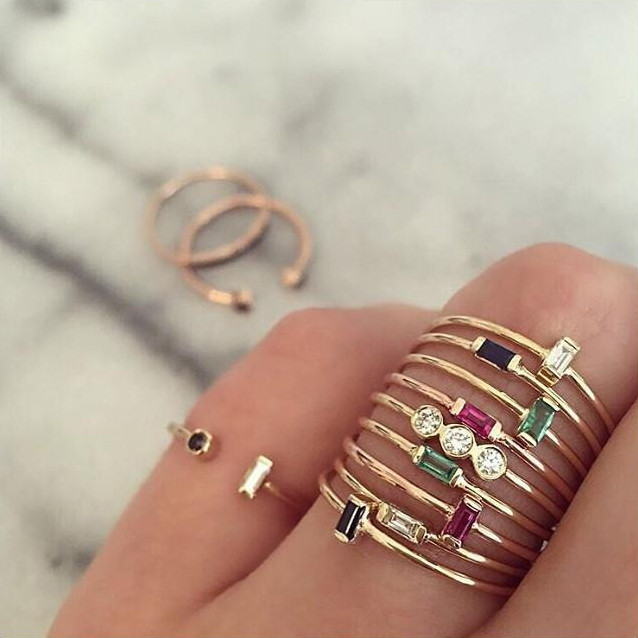Zoe Chicco Horizontal Emerald Baguette Yellow Gold Ring on Model