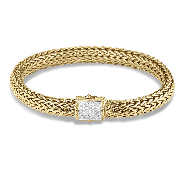 John Hardy Yellow Gold 7.5mm Diamond Bracelet