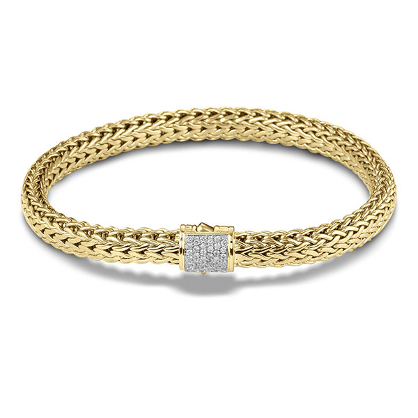John Hardy Classic Chain Yellow Gold 6mm Large Diamond Bracelet