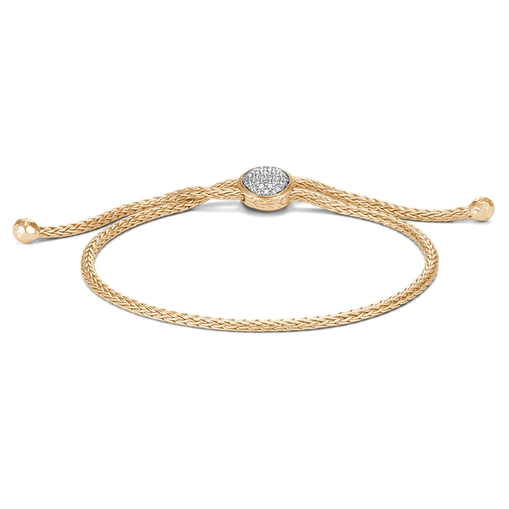 John Hardy Yellow Gold & Diamond Station Pull Through Classic Chain Bracelet