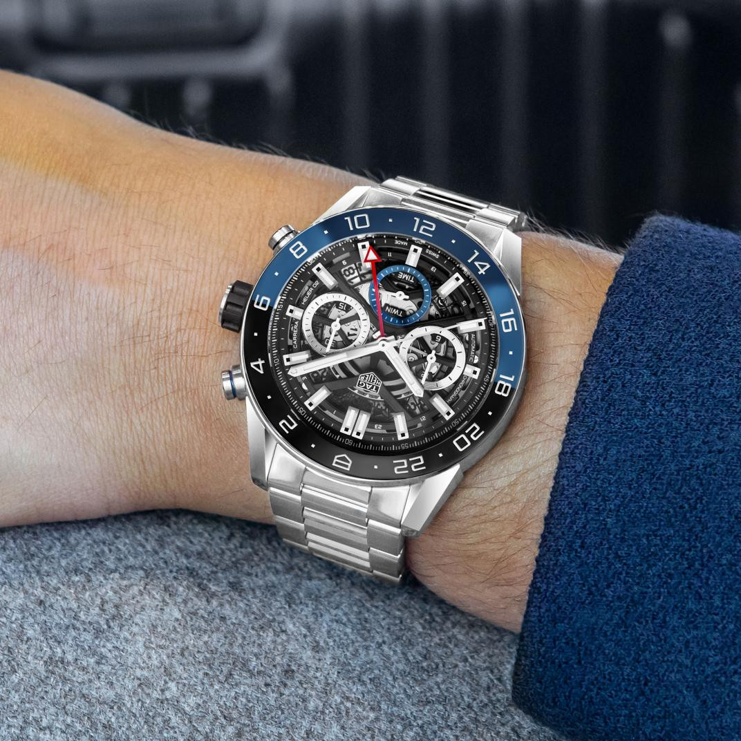 Tag Heuer Carrera Calibre Black and Blue Watch - 45mm hand view