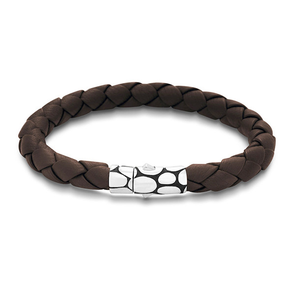 John Hardy Kali Brown Woven Medium Leather Bracelet