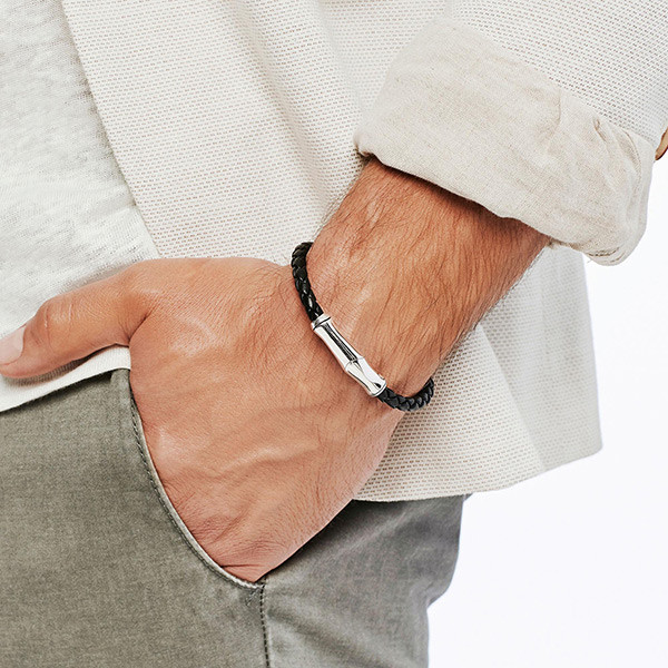 John Hardy Leather & Silver Station Bamboo Bracelet On Model