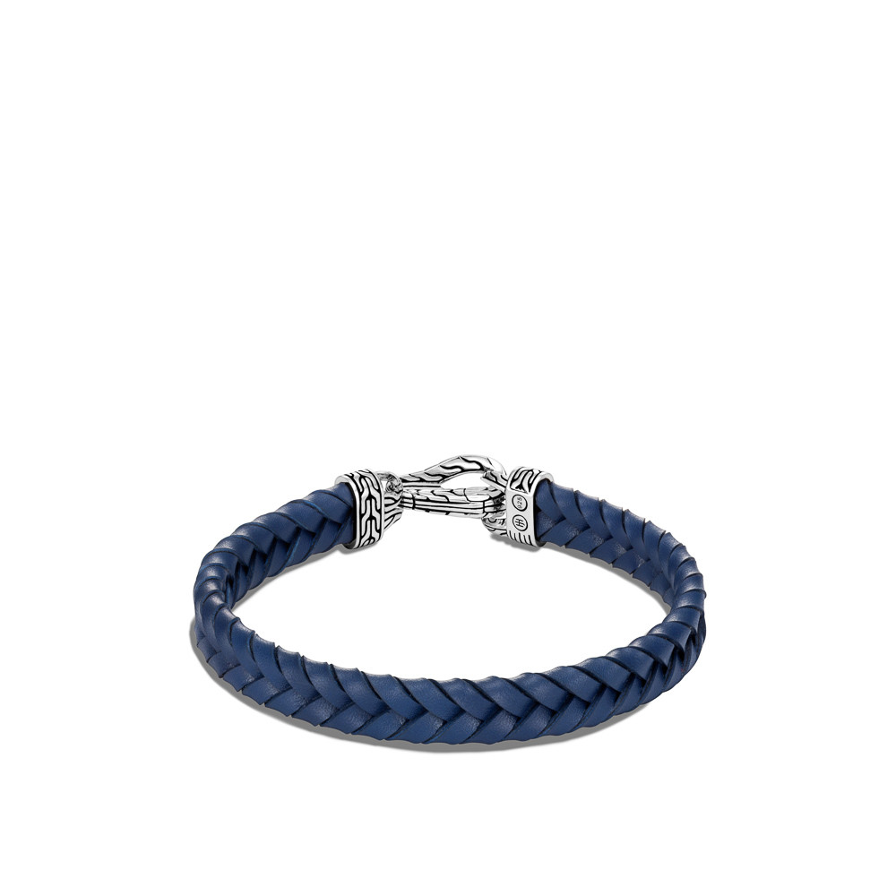 John Hardy Asli Classic Chain Blue Braided Leather Bracelet in Sterling Silver back view