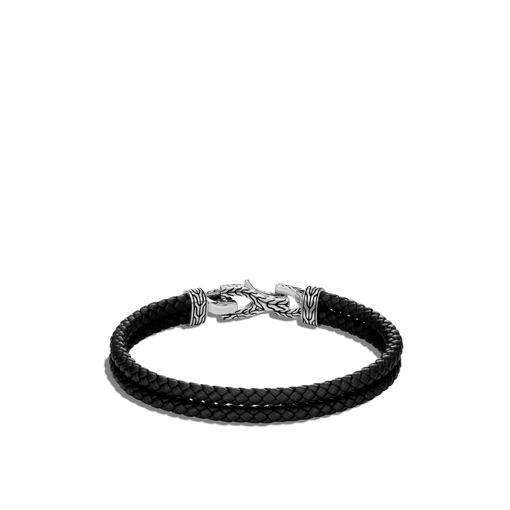 John Hardy Asli Classic Chain Double Black Leather Bracelet in Sterling Silver back view
