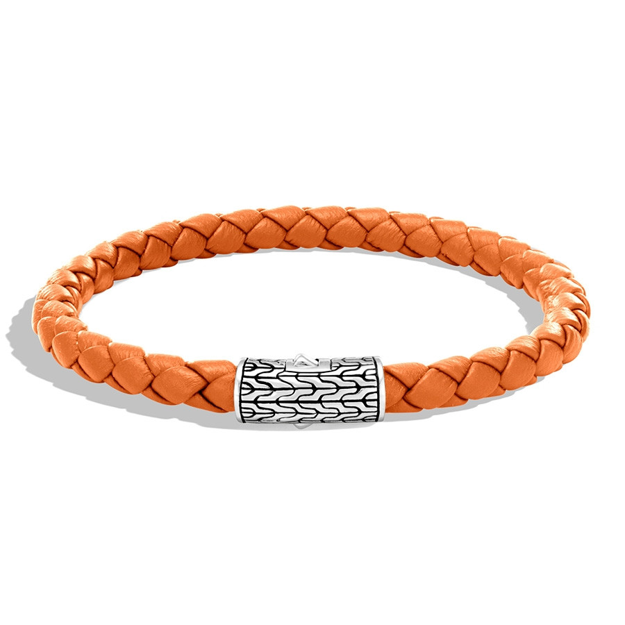 John Hardy Orange Classic Chain Woven Leather Bracelet