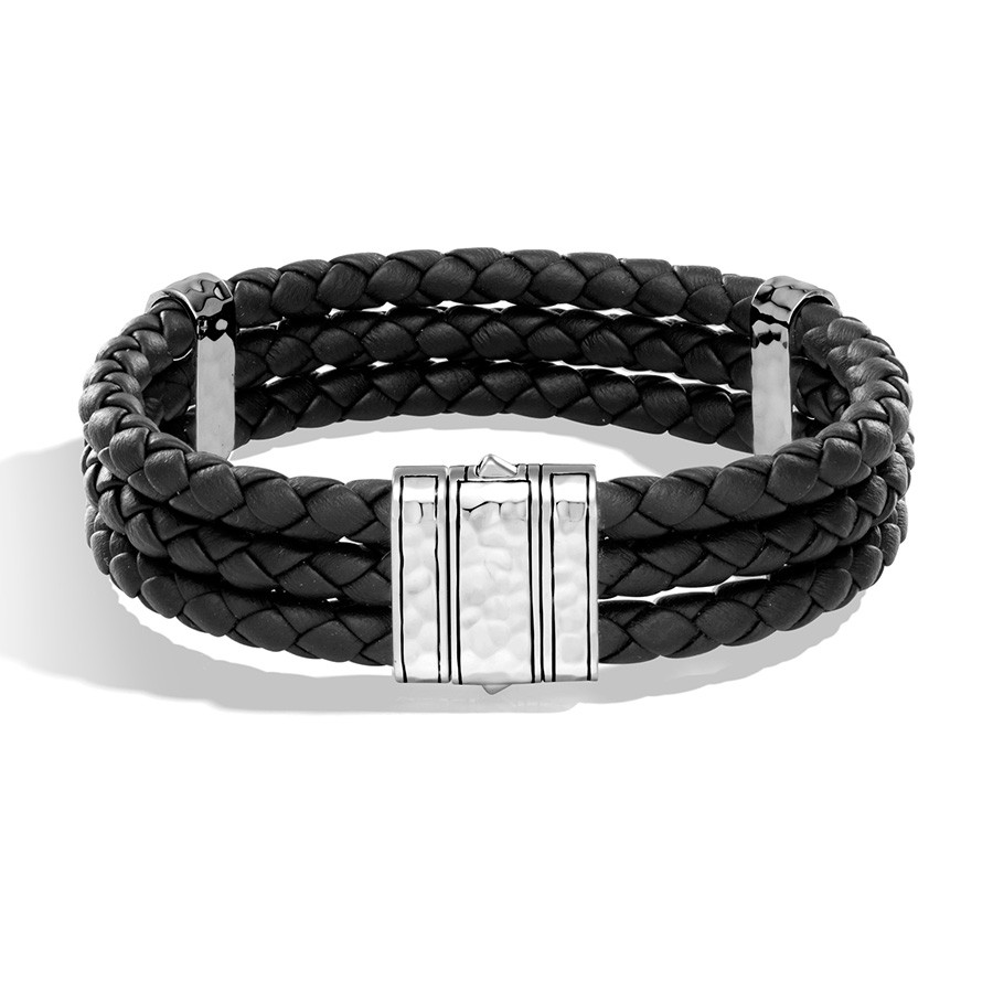 John Hardy Classic Chain Triple Row Braided Leather Hammered Silver Bracelet