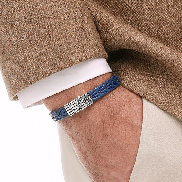 John Hardy Classic Chain Blue Leather Bracelet on Model