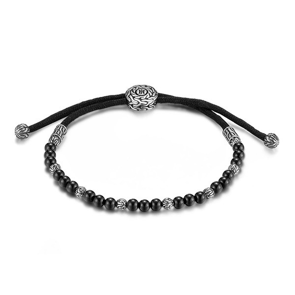 John Hardy Round Black Onyx Beads Adustable Cord Classic Chain Bracelet