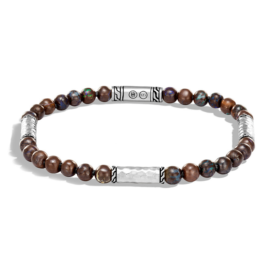 John Hardy Classic Chain Boulder Opal & Hammered Silver Beaded Bracelet