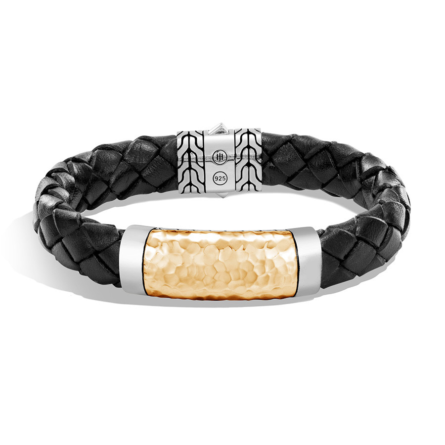 John Hardy Classic Chain Silver & Hammered Gold Leather Bracelet