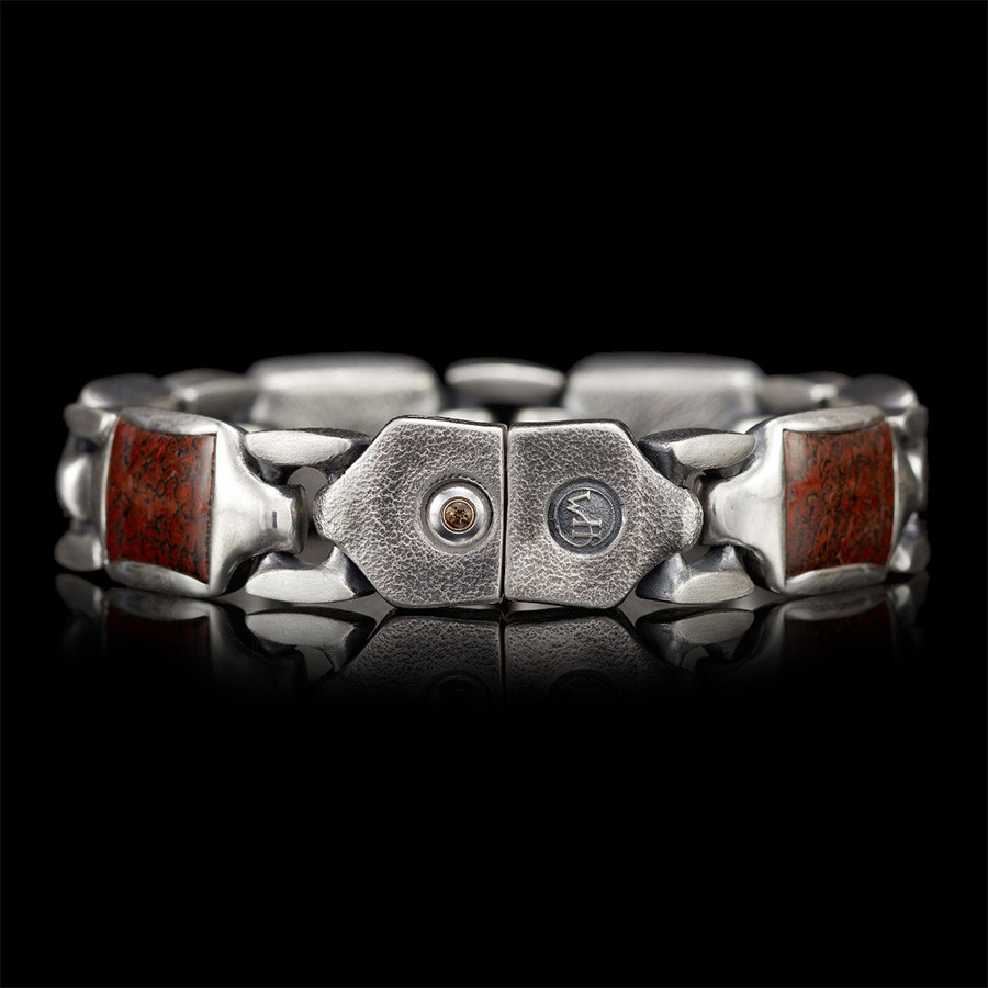 William Henry Dino Bone Silver Link Retro Bracelet Close Up Back View