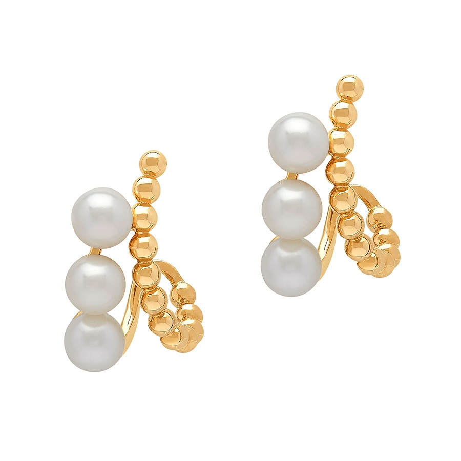 Honora Yellow Gold Icon White Pearl Pebble Curved Earrings