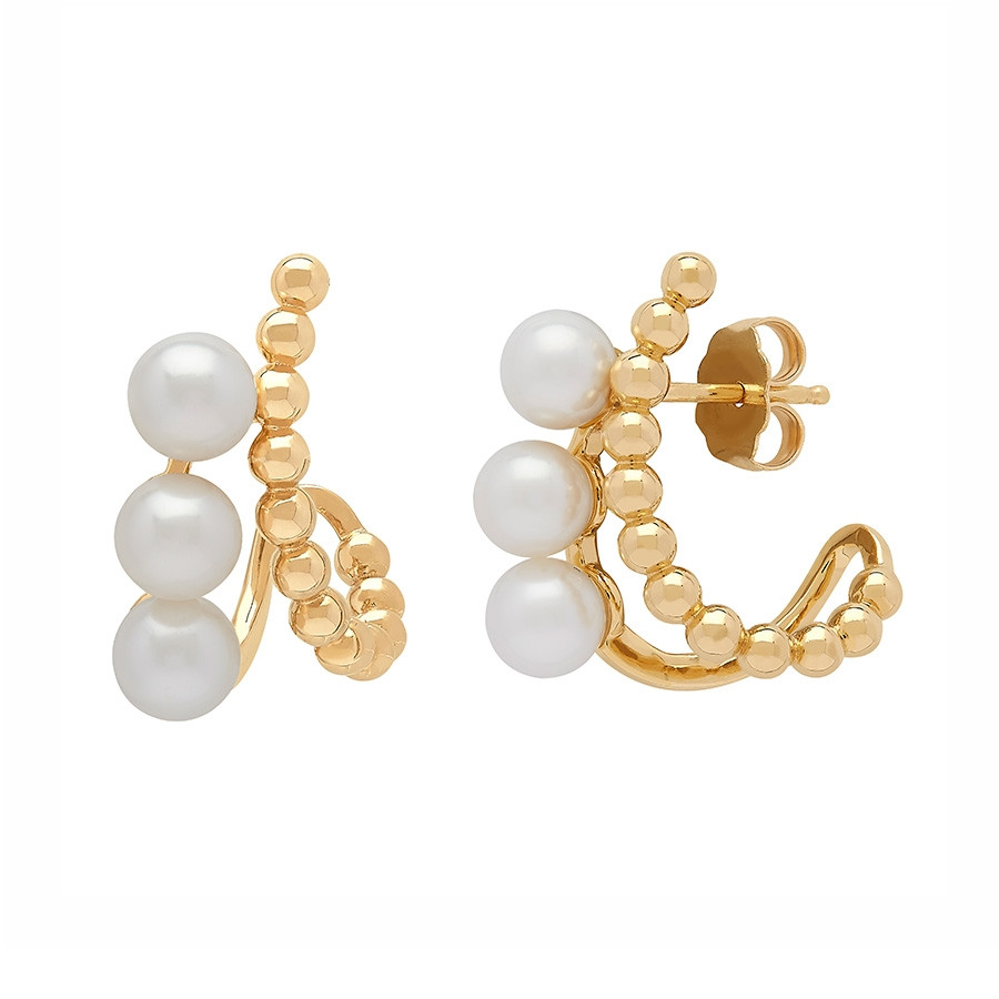 Honora Yellow Gold Icon White Pearl Pebble Curved Earrings Side View
