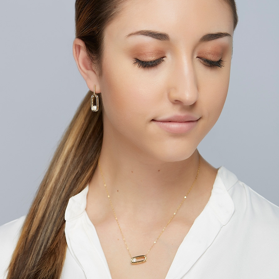 Honora Yellow Gold Wanderlust White Pearl Necklace on model