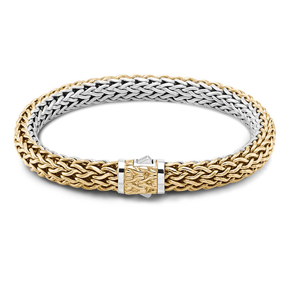 John Hardy Classic Chain Gold & Silver 7.5mm Small Reversible Bracelet