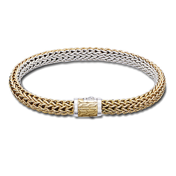 John Hardy Classic Chain Gold & Silver 6.5mm Small Reversible Bracelet